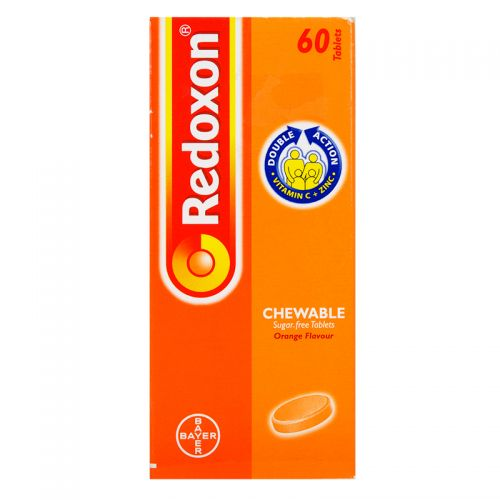 Bayer Redoxon Chewable Orange Flavour Double Action Vitamin C + Zinc - 60 Tablets