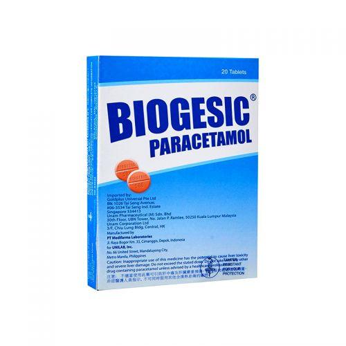 Biogesic Paracetamol 500mg - 20 Tablets