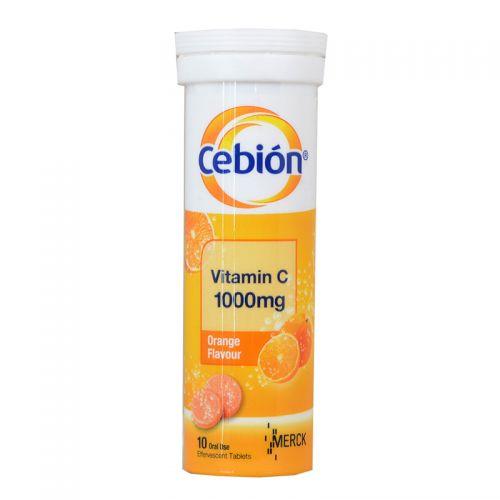 Cebion Vitamin C 1000mg - 10 Oral Use Effervescent Tablets (Orange Flavour)