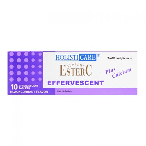 HolistiCare Supreme Ester-C Effervescent Plus Calcium - 10 Tablests (Blackurrant Flavor)