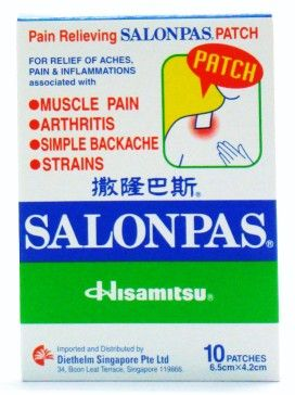 Salonpas Pain Relief Patch - 10 Patches (6.5 cm x 4.2 cm)