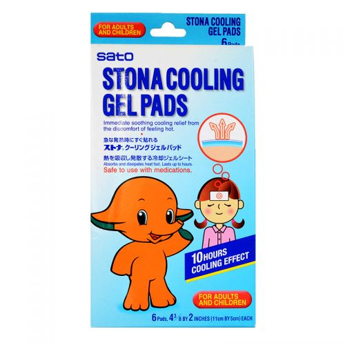 Sato Stona Cooling Gel Pads For Adults and Children - 6 Pads (11cm bx 5cm)