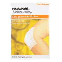 Smith & Nephew Primapore Adhesive Dressings - 5 sterile dressings (8.3cm x 6cm)