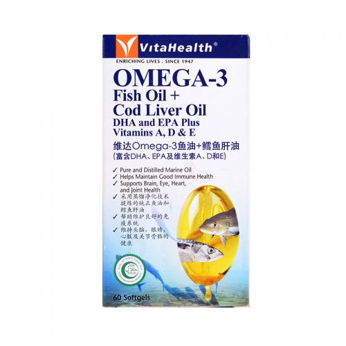 VitaHealth Omega-3 Fish Oil + Cod Liver Oil DHA and EPA Plus Vitamins A, D & E - 60 Softgels