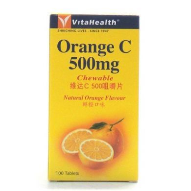 VitaHealth Orange C 500mg Chewable Natural Orange Flavour - 100 Tablets