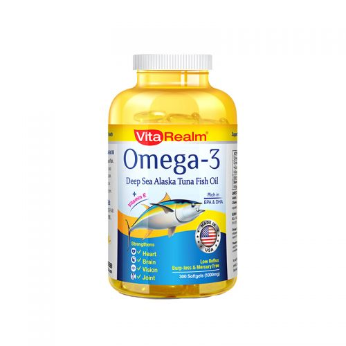 VitaRealm Omega-3 Deep Sea Alaska Tuna Fish Oil 1000mg- 300 Softgels