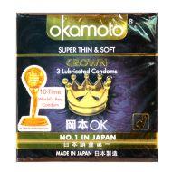 Okamoto Crown Super Thin & Soft - 3 Lubricated Condoms